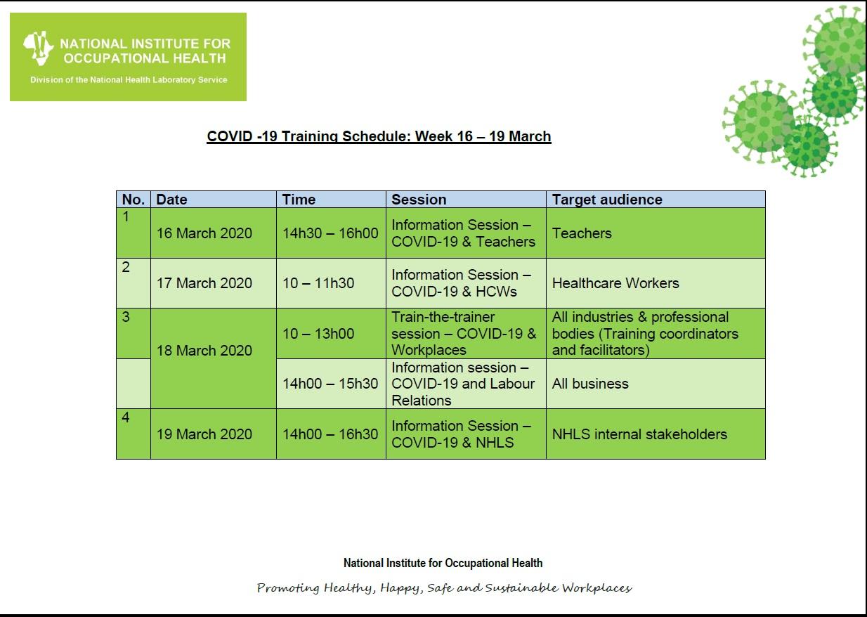 NIOH COVID-19 Training Schedule